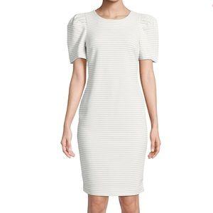 Calvin Klein | NWT White Stripe Puff-Sleeve Dress